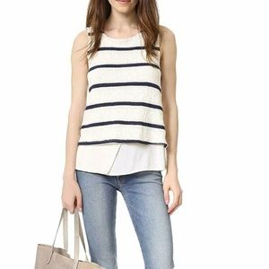 Splendid Cream Blue Striped Faux Layered Tank XS